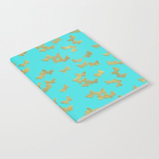 Gold glitter butterflies on aqua backround pattern Notebook