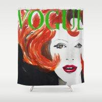 vogue Shower Curtains featuring Vintage Vogue  by Nathan Dixon