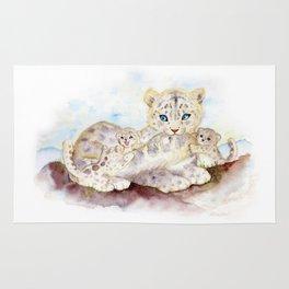 Snow leopard family Rug