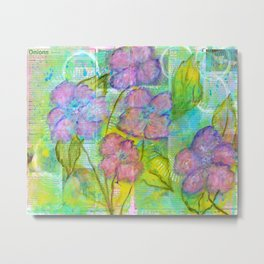 Spring Fantasy, Abstract Flowers Art Metal Print