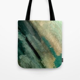 Green Thumb - an abstract mixed media piece in greens and blues Tote Bag