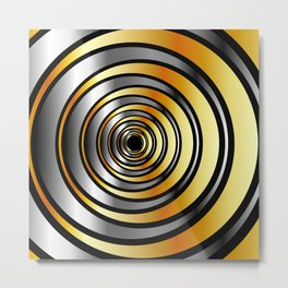Concentric metallic rings in gold and silver-metallic texture artwork Metal Print