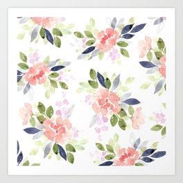 Large Watercolor Floral Pattern Art Print