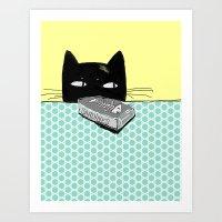 kitty Art Prints featuring Kitty  by Mary Kilbreath