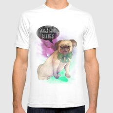 Pugs and kisses Mens Fitted Tee White MEDIUM