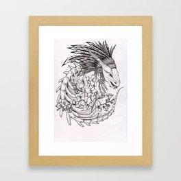 Dragon&Flowers Framed Art Print