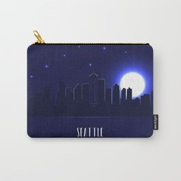 Seattle skyline silhouette at night Carry-All Pouch