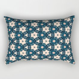 Geometrical Dark Blue delicate Flower design Rectangular Pillow