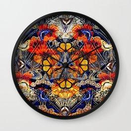 Art Nouveau Nasturtium and Butterflies Pattern Wall Clock