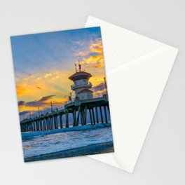 Colors Over Huntington Pier at Sunset Stationery Cards
