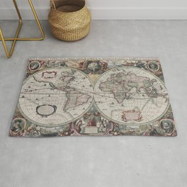 Vintage Map of The World (1630) Rug