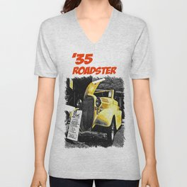Classic yellow roadster Unisex V-Neck