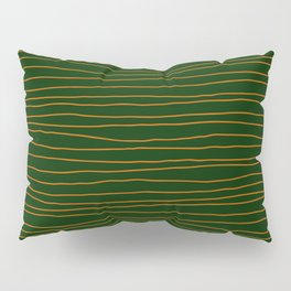 Hand Drawn Lines - Orange / Dark Green Pillow Sham