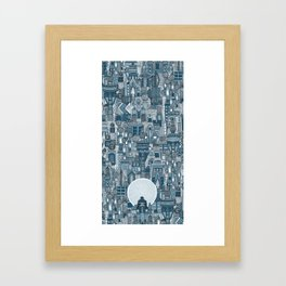 space city mono blue Framed Art Print