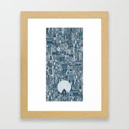 space city mono blue Framed Art Print