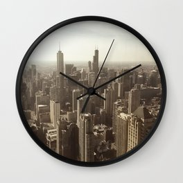 Chicago Buildings Sears Tower Sky Sun Color Photo Wall Clock