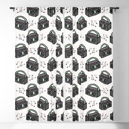 Cute retro boombox cartoon seamless pattern. Blackout Curtain