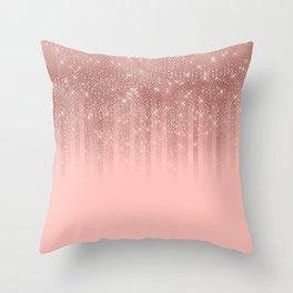 Glamorous Pink Rose Gold Glitter Striped Gradient Throw Pillow