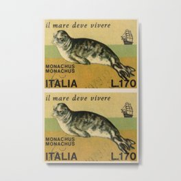 Mediterranean monk seal italian stamps collage Metal Print