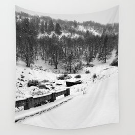 Snowing Forest And A Fishing Boat Wall Tapestry