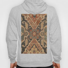 Geometric Leaves III // 18th Century Distressed Red Blue Green Colorful Ornate Accent Rug Pattern Hoody