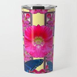 CERISE PINK & BLUE BUTTERFLIES FLORAL ART Travel Mug