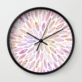 Pink Leaves, Feathers, Seashells, Wings and Seeds Wall Clock
