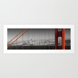 Golden Gate Bridge | Panoramic Downtown View Art Print
