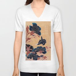 japanese flowers Unisex V-Neck