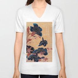 japanese flowers Unisex V-Neck