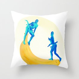Josephine Plays at the Banana See-saw Throw Pillow
