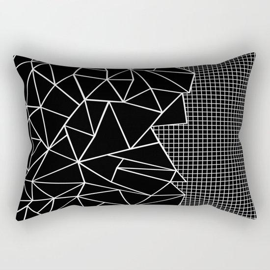 Abstract Grid Outline White on Black on Side Rectangular Pillow