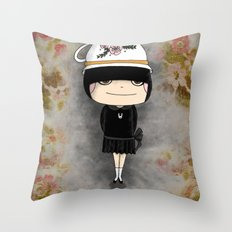 Black Tea Girl Throw Pillow