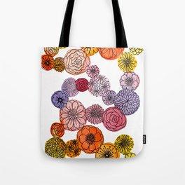 Watercolor Bubble Flowers Tote Bag