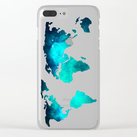 World Map Space Galaxy Stars in Turquoise Clear iPhone Case