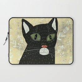 Black cat stare Laptop Sleeve