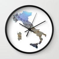 italy Wall Clocks featuring Italy by Isabel Moreno-Garcia