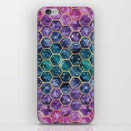 Gold Galaxy Hexagons iPhone Skin