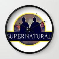 supernatural Wall Clocks featuring Supernatural  by amirshazrin