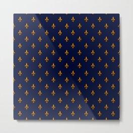 Blue & Gold Fleur-de-Lis Pattern Metal Print