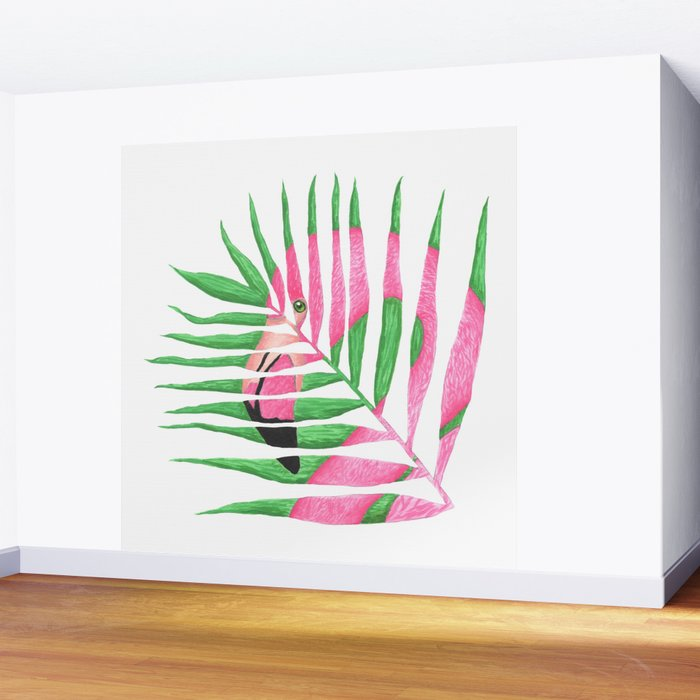 Pink Flamingo Palm Leaf Wall Mural