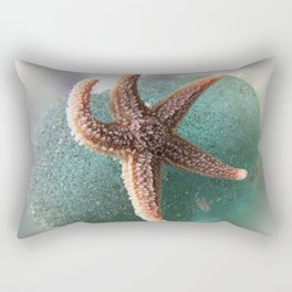 Starfish on Ocean Blue Sea Glass Rectangular Pillow