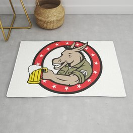 Donkey Beer Drinker Circle Retro Rug