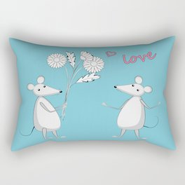 two enamored mouses Rectangular Pillow