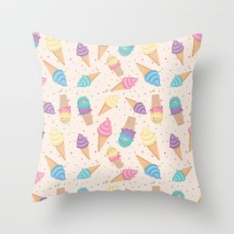 ice cream party Throw Pillow