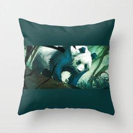 The Lurking Panda Throw Pillow