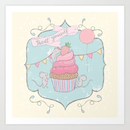 Treat Yourself Cupcake Party Art Print