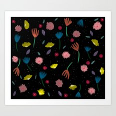 Night floresta pattern Art Print