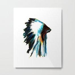 Indian Headdress Native America Illustration Metal Print