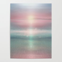 """Pink sky over blue sea Sunset"" Poster"